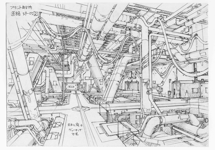 Concept design for Ghost in the Shell 2: Innocence (2004). Pencil on paper, 176 x 250 mm.
