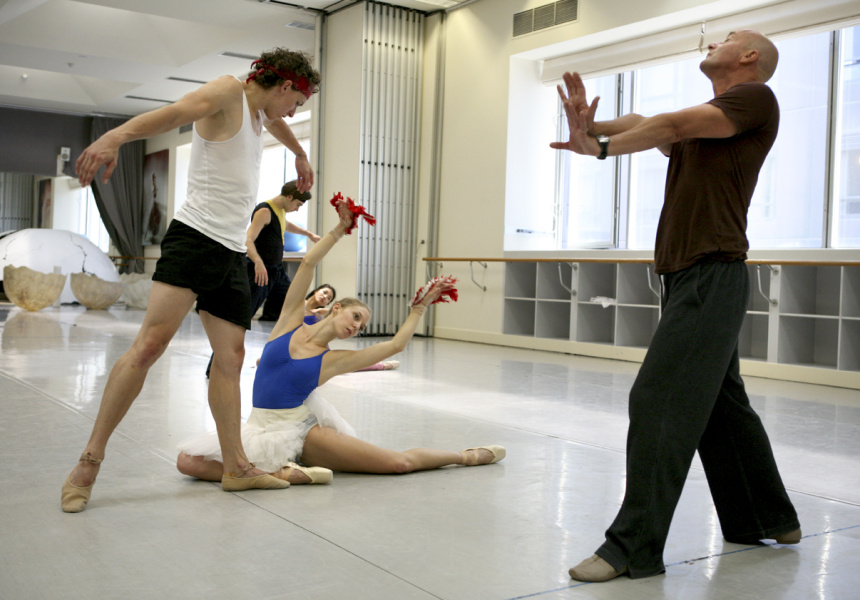 Kevin Jackson Lana Jones and Graeme Murphy rehearsing Firebird