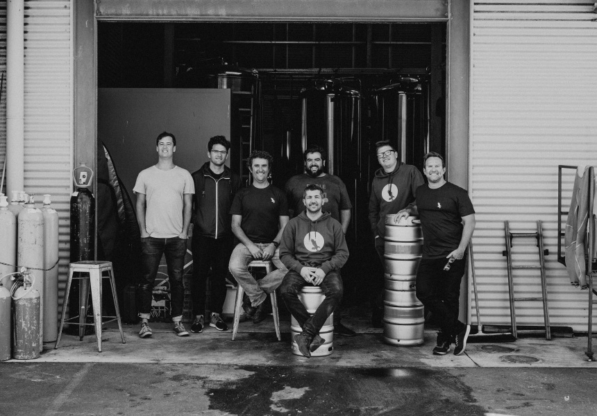 From left to righ: Elliot Moore (Mane Liquor); Kyle Hughes-Odgers; Nick d'Espeissis and Adrian d'Espeissis (Eagle Bay); Paul Aron, seated, and Micheal Forde (Mary Street Bakery); Gerome Vaughan (Eagle Bay).