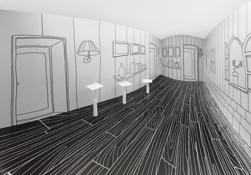 Thin Black Lines and Dancing Squares (detail) Nendo, 2011 Installation, Taiwan Craft Research Institute © Nendo