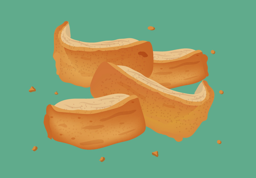 Pork scratching. Illustrated by Paolo Sta. Barbara