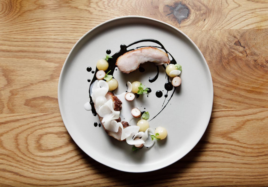 Pork jowl with charred octopus, Ink, turnip, kohlrabi and chickweed