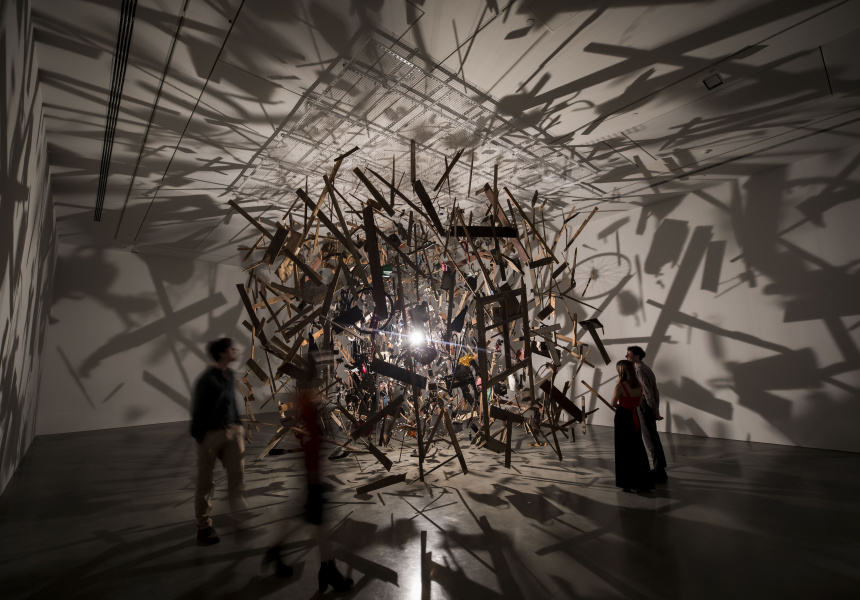 Cornelia Parker, Cold Dark Matter: An Exploded View, 1991, a garden shed and contents blown up for the artist by the British Army, the fragments suspended around a light bulb