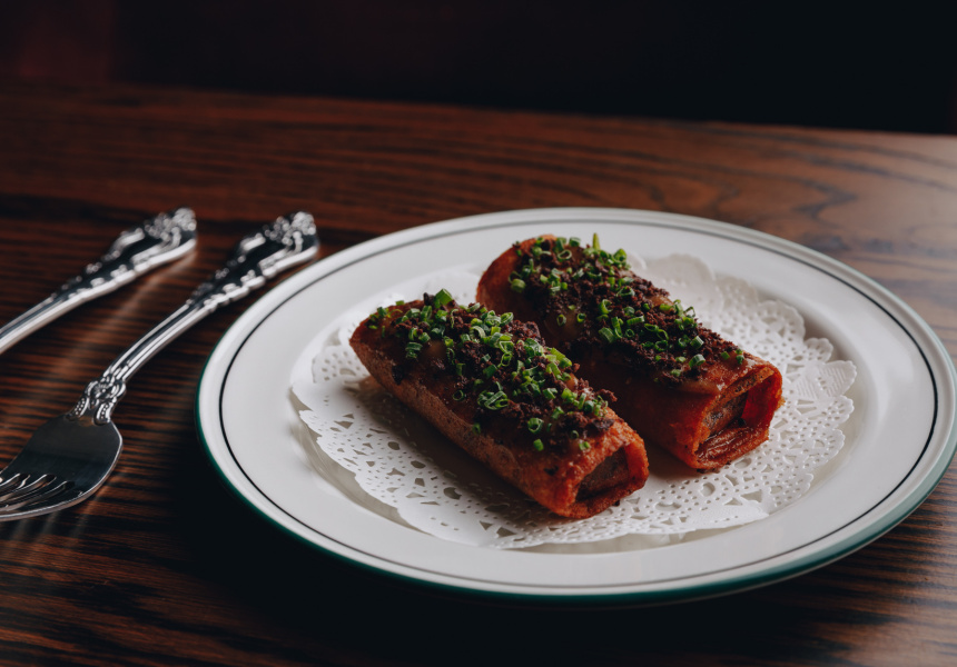 Spiced-lamb borek, raisin jam and olive