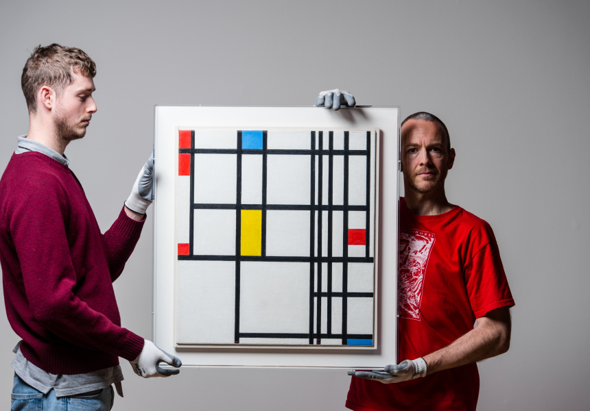 "Installing ""Composition in Red, Blue, and Yellow, 1937-42"" by Piet Mondrian"