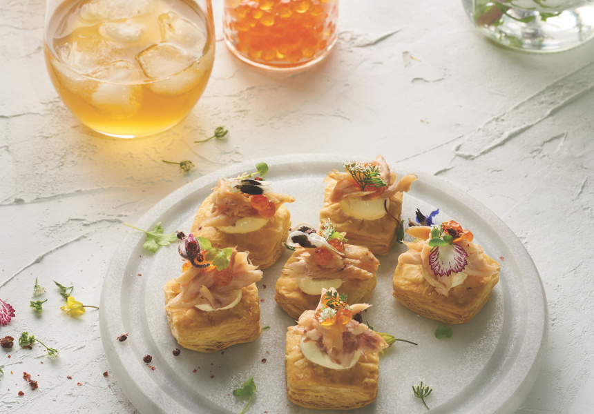 Smoked trout and caviar on a sour cream tart