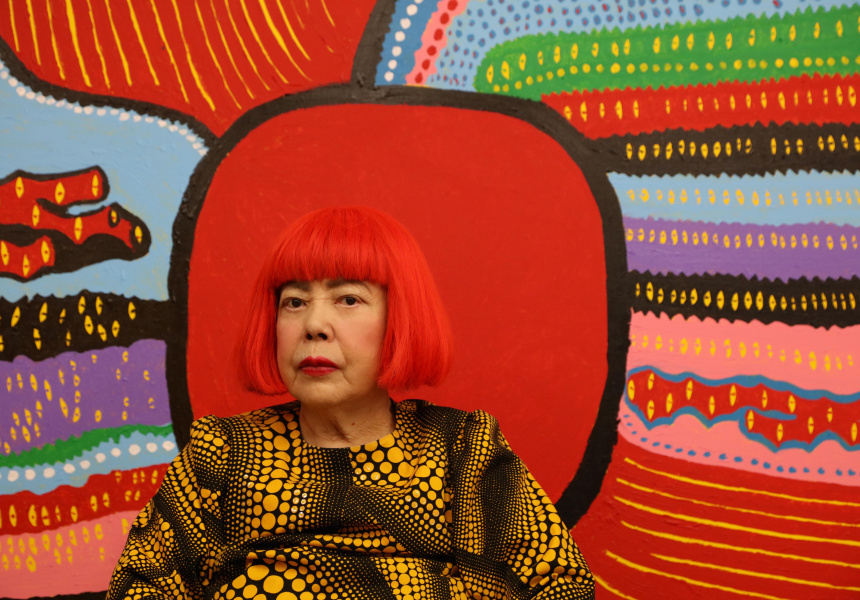 Yayoi Kasuma in front of 'Life is the Heart of a Rainbow""
