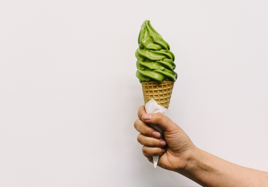 Matcha soft serve at Chanoma Cafe
