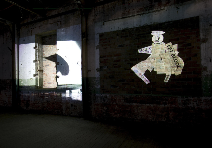 William Kentridge I am not me, the horse is not mine, 2008 Eight-channel video projection, colour and sound, 6 mins Installation view (2008) at Cockatoo Island for the 16th Biennale of Sydney © William Kentridge. Courtesy the artist; Marian Goodman Gallery, New York and Paris; Goodman Gallery, Johannesburg; and Annandale Galleries, Sydney Photo: AGNSW, Jenni Carter