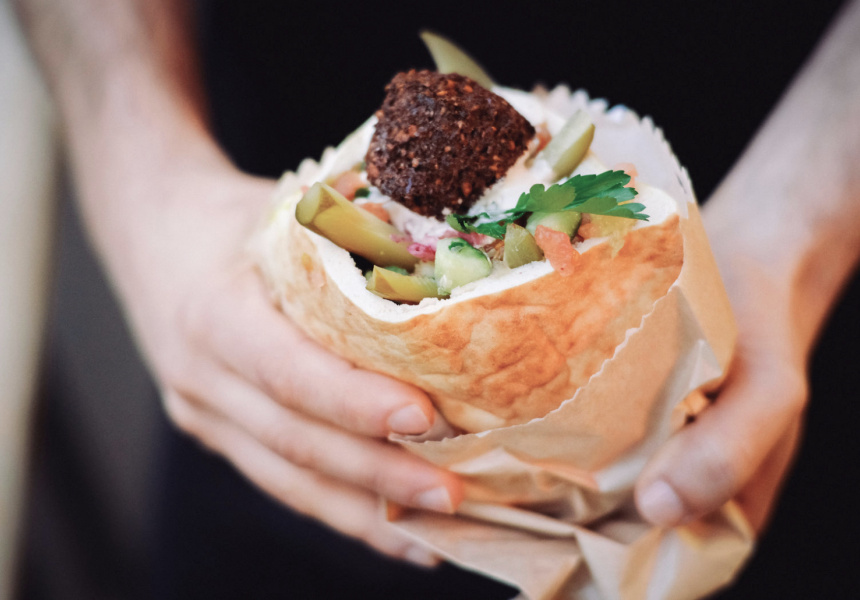 Falafel pita at Very Good Falafel