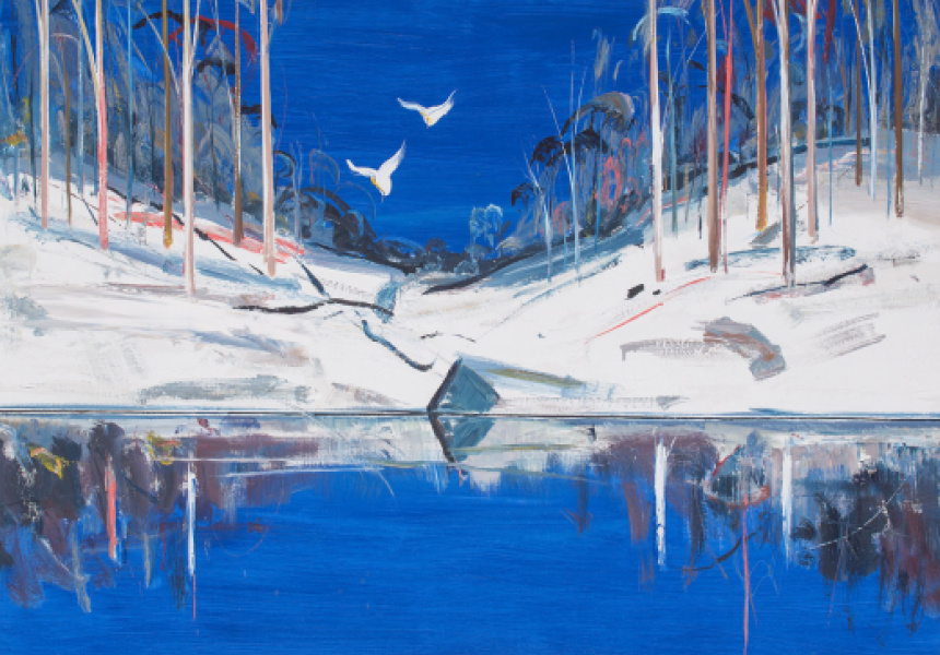 'Riverbank with Reflections and Cockatoos' by Arthur Boyd. Copyright by Boyd's estate, licensed by Viscopy 2018.
