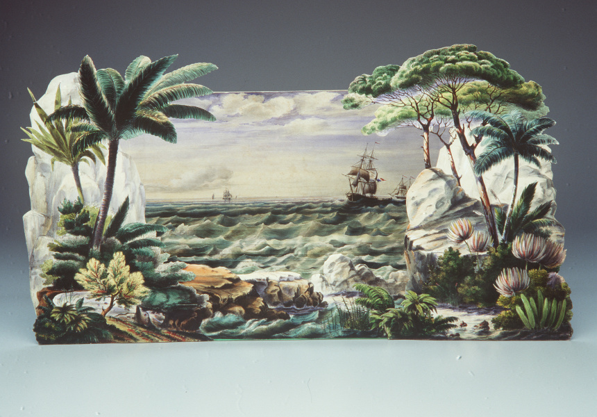 J. Pintard (publisher) and Charles Letaille (scripts and lithographs). French toy theatre La Pleine Mer, Scenes, Maritimes en Action  1836, hand coloured lithographs, paper and cardboard. Museum of Applied Arts and Sciences, Sydney. Purchased with funds donated by the Patrons of the Powerhouse, 1985.