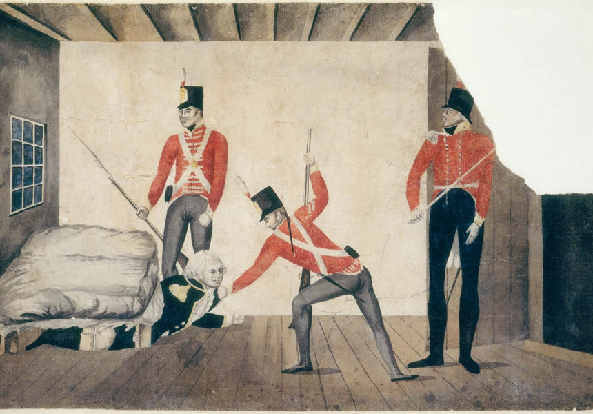 Australia's earliest surviving political cartoon – a watercolour caricature depicting the arrest of William Bligh. The artist is still unknown.
