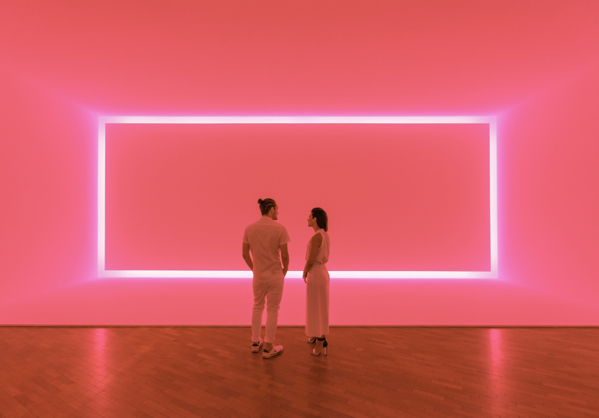 James Turrell -  Raemar pink white 1969 Shallow space construction: fluorescent light 440 x 1070 x 300 cm Kayne Griffin Corcoran, Los Angeles, California Image: National Gallery of Australia