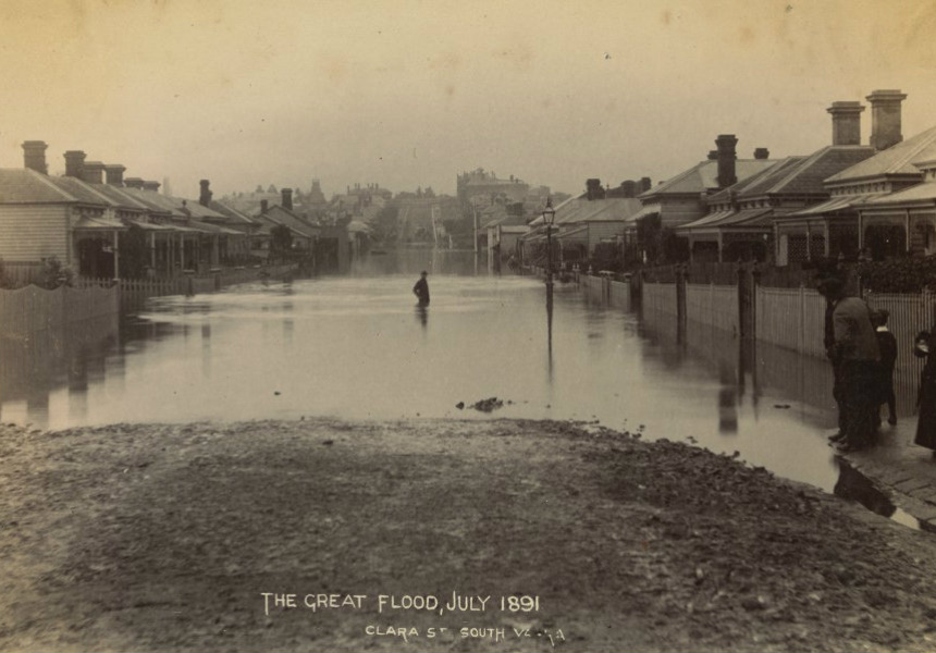 The great flood of Melbourne in July 1891. Clara Street, South Yarra.