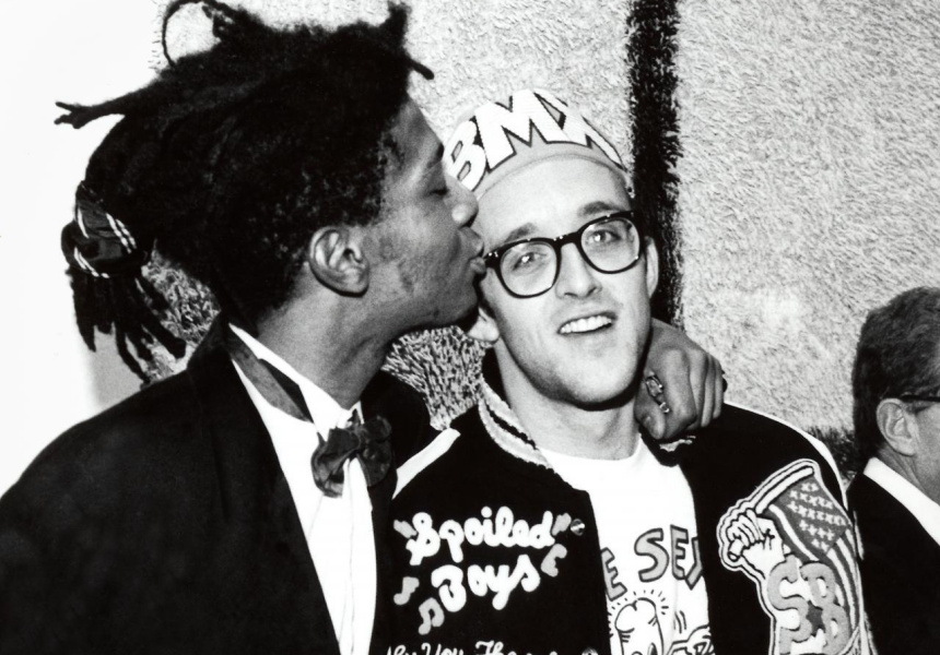 Keith Haring and Jean-Michel Basquiat at the opening reception for Julian Schnabel at the Whitney Museum of American Art, New York, 1987.