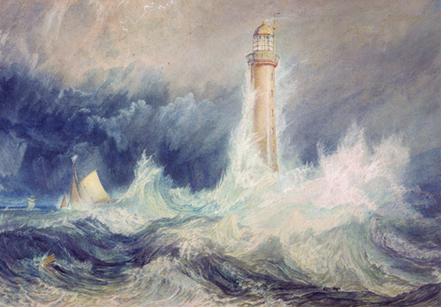 Joseph Mallord William (JMW) Turner  The Bell Rock lighthouse 1819  watercolour and gouache with scratching out on paper  30.6 x 45.5 cm  © Trustees of the National Galleries of Scotland