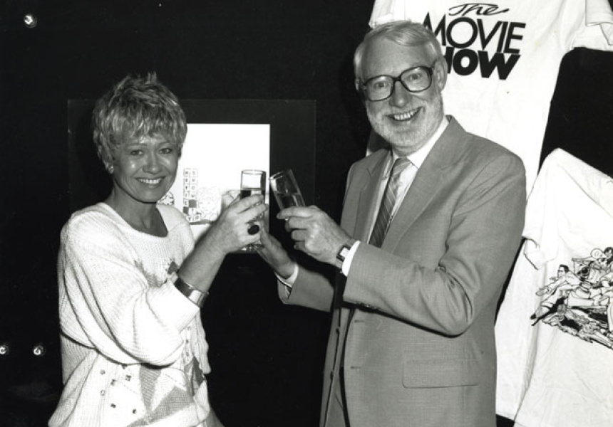 Margaret and David celebrating 1st birthday for SBS's The Movie Show, 1987.