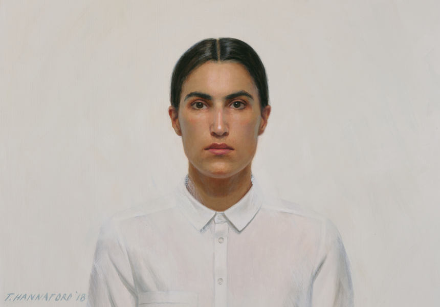 Archibald Prize 2018 finalist Tsering Hannaford 'Self-portrait' oil on board 55.5 x 79 cm © the artist