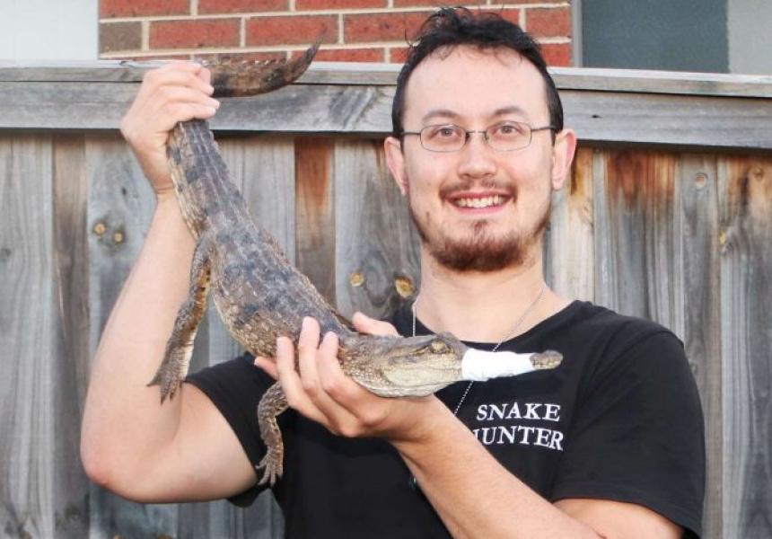 Snake hunter Mark Pelley and the Heidelberg crocodile.