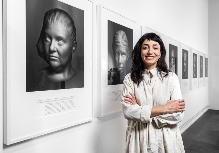 Hoda Afshar with her work Agonistes, Ramsay Art Prize 2021