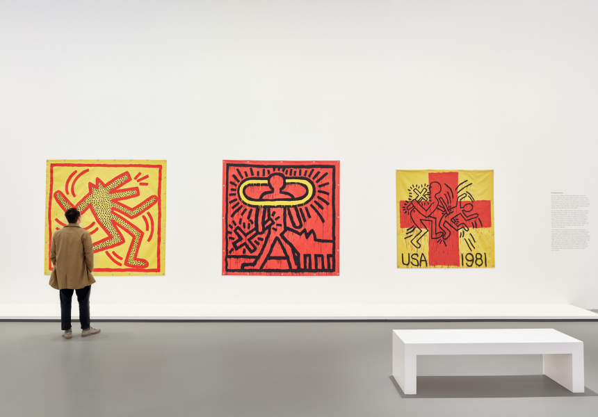 Installation view of Keith Haring | Jean-Michel Basquiat: Crossing Lines at NGV International, 1 December 2019 – 11 April 2020 © Estate of Jean-Michel Basquiat. Licensed by Artestar, New York © Keith Haring Foundation
