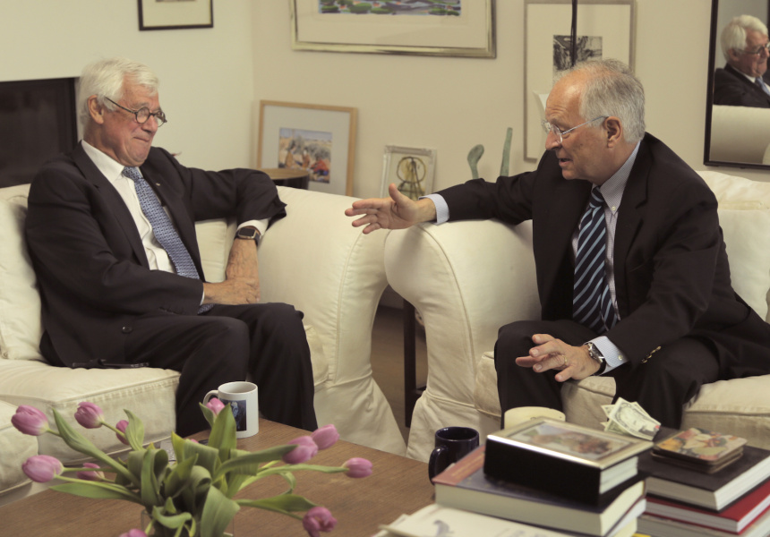 Julian Burnside with Ambassador Wolfgang Ischinger in Berlin