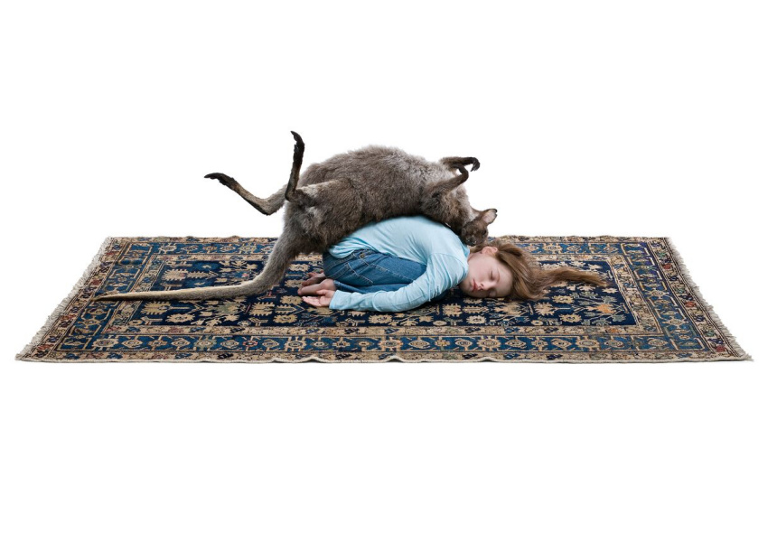 Patricia  Piccinini  Balasana  2009  silicone,  fibreglass,  human  hair,  red-necked  wallaby,  clothing,  rug    53  x  76.5  x  122  cm