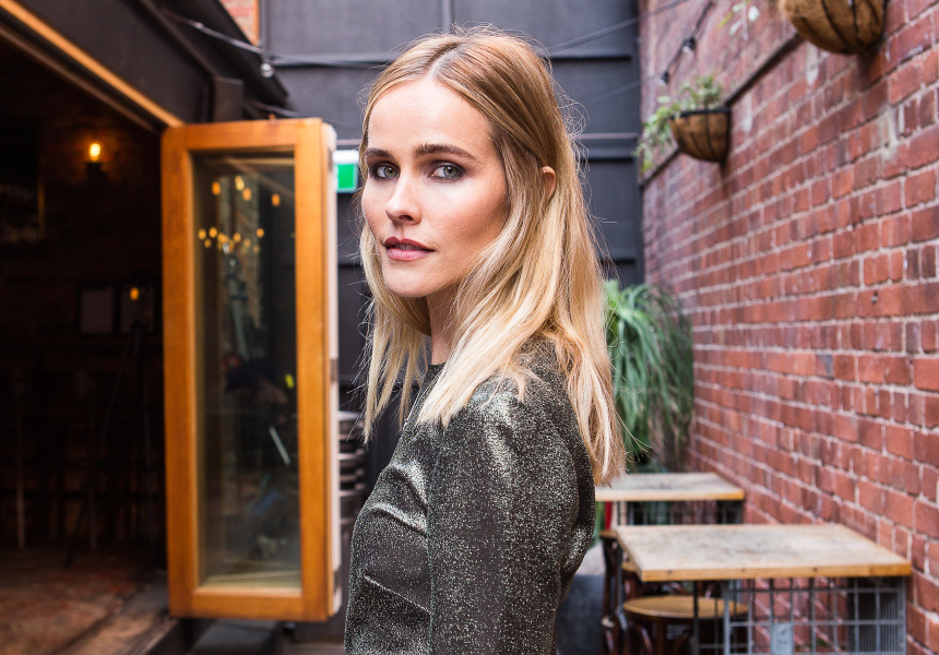 Isabel Lucas shot at Union Electric bar in Melbourne's Chinatown. Lucas wears Zimmermann.
