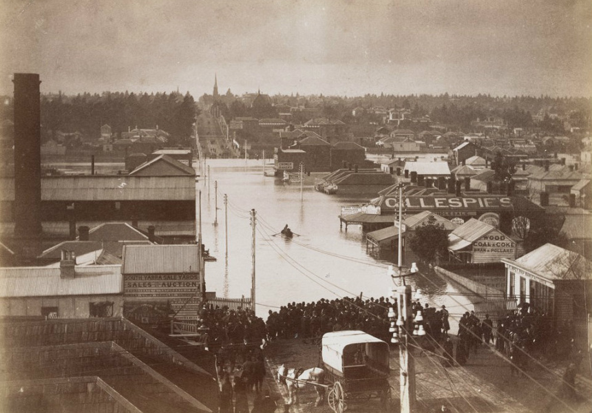 An elevated view of Toorak Road during the great flood of Melbourne in July 1891