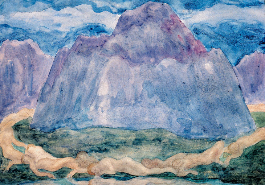 Kahlil Gibran Nude Figures Lying at the Foot of a Mountain by a Lake (1923-1931) Watercolour © Gibran Museum