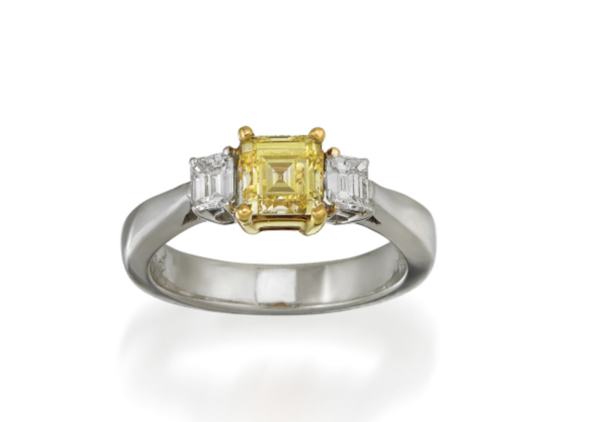 18CT BI-COLOUR GOLD, FANCY YELLOW DIAMOND AND DIAMOND RING, SOTHEBY'S IMPORTANT JEWELS & WATCHES