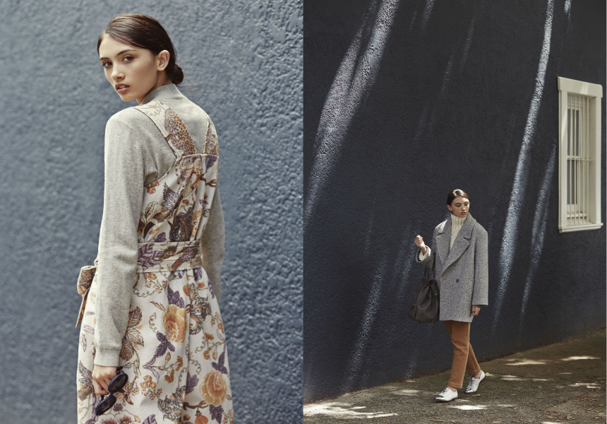 Left: playsuit by Karen Walker, knit by Bùl, sunglasses by Preen.  Right: jumper by Elissa McGowan, pants by Karen Walker, shoes by Meandher, coat by Karen Walker, bag by Jerome Dreyfuss