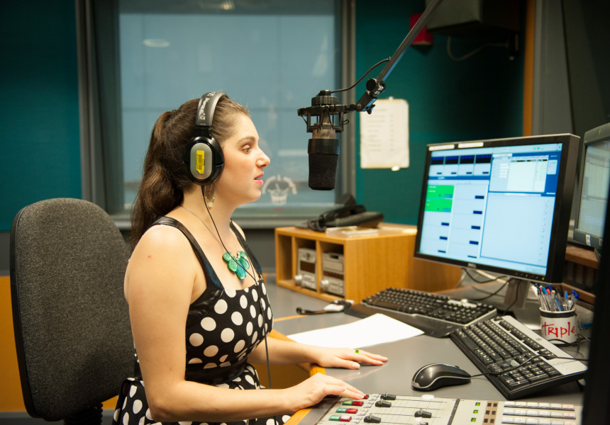 Newsreader Nas Campanella in the Triple J studio