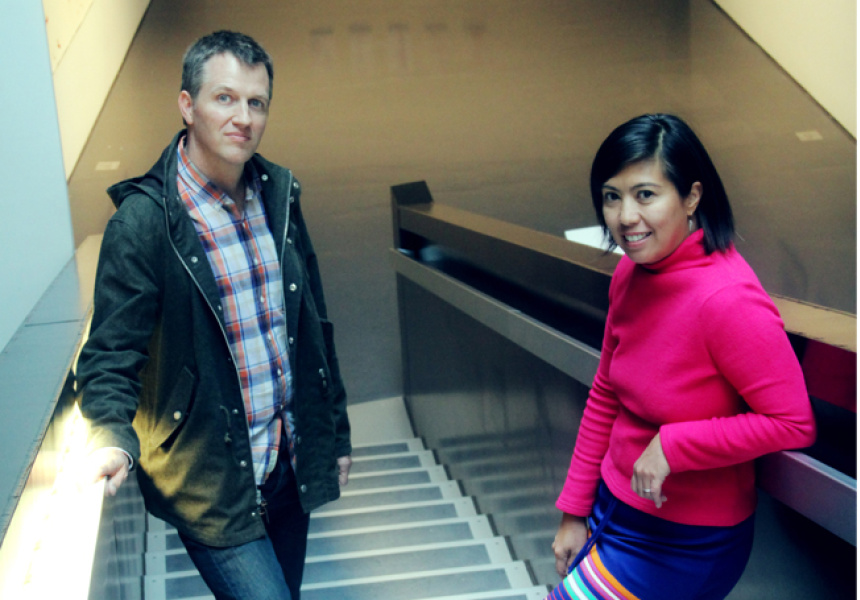 Founding curators, Jonathan and Meg Wells of flux, photo set at the Contemporary Arts Center, Cincinnati