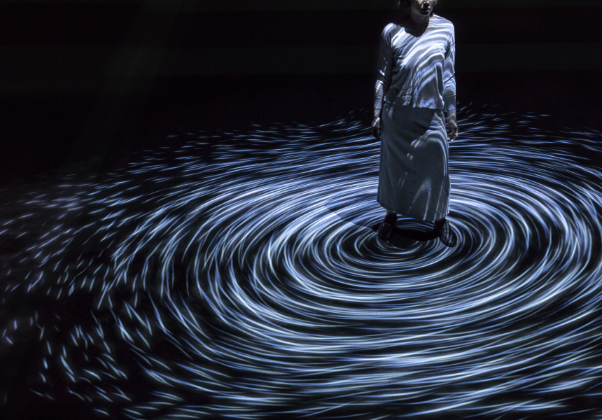 teamLab (design studio) Toshiyuki Inoko (designer). Moving Creates Vortices and Vortices Create Movement, 2017. Interactive digital projection, (duration variable). National Gallery of Victoria, Melbourne.
