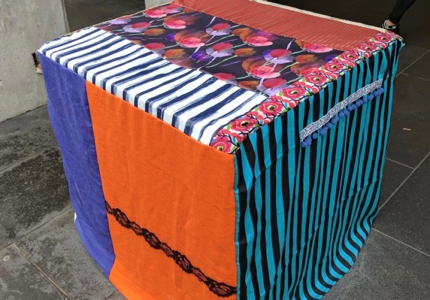 Twitter user @GrantKTaylor posted this shot of the bollard in Bourke Street now covered in bright fabric