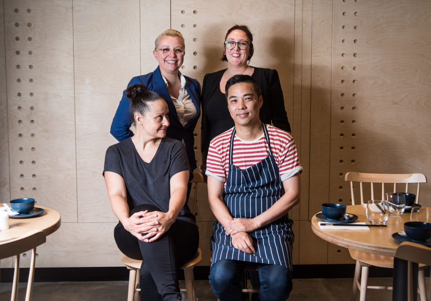 The Madame Shanghai team. Standing: Kate McGraw and Annette Lacey, Seated: Chris Yan