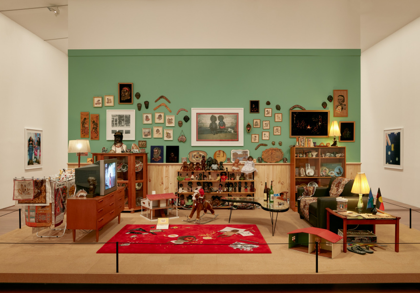 Installation view of Destiny Deacon's Koori Lounge Room 2020 on display in DESTINY at The Ian Potter Centre: NGV Australia, Melbourne, 2020.