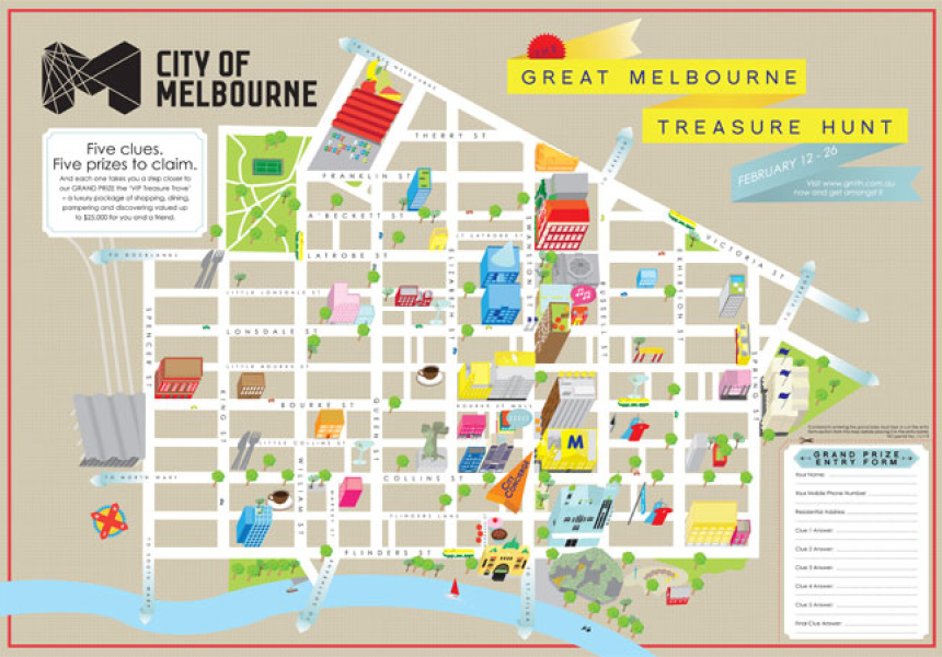 Beci Orpin Treasure Hunt Map of Melbourne Broadsheet