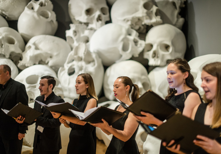 Polyphonic Voices inside Ron Mueck's Mass, 2017 who are performing at part of NGV Triennial EXTRA