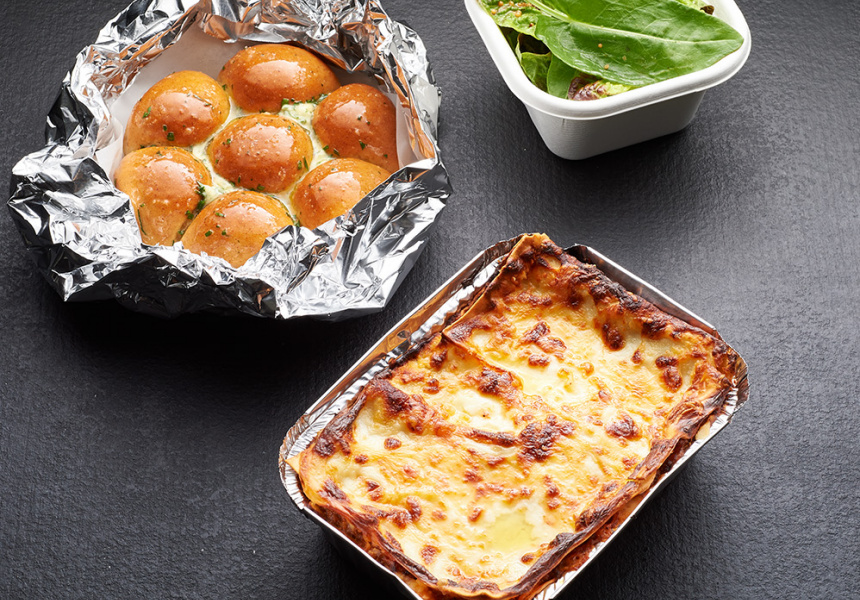 Lasagne, garlic bread and salad for two