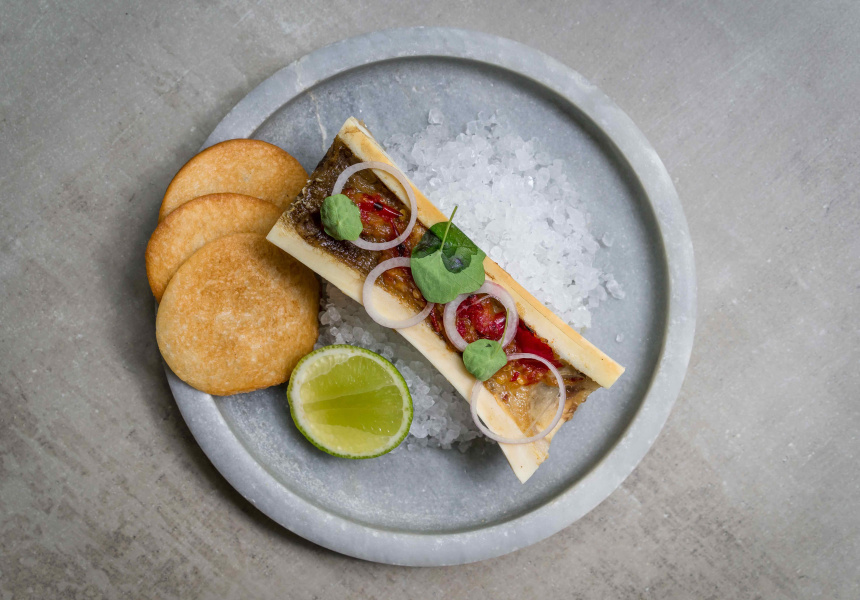 Bone marrow with sambal and lime
