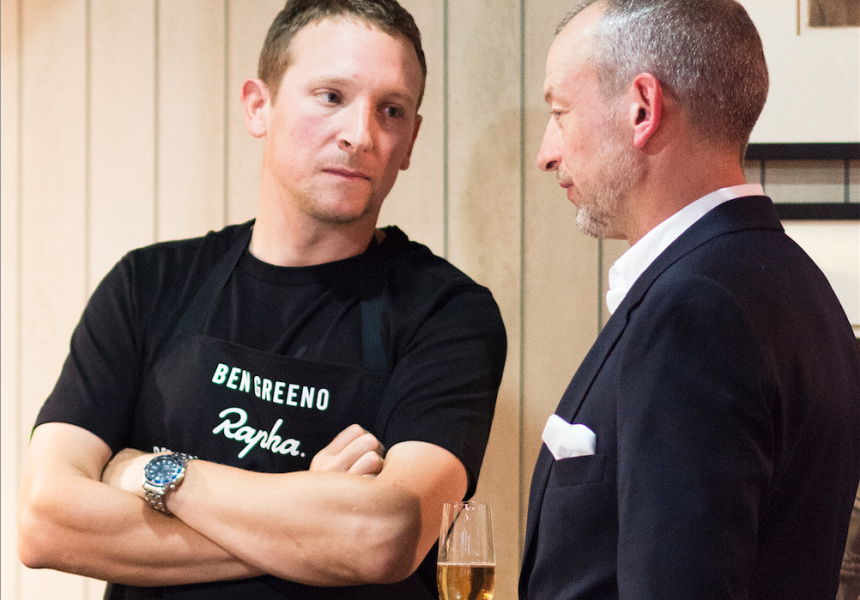 Momofuku's Ben Greeno with Rapha's Simon Mottram.