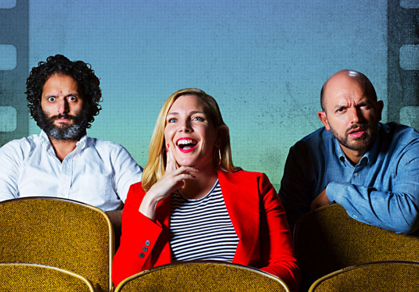 Jason Mantzoukas, June Diane Raphael and Paul Scheer, hosts of How Did This Get Made