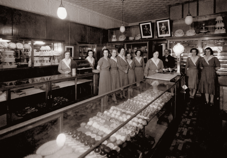 "Mr Jean Stauber and the ""shop girls"" in 1936."