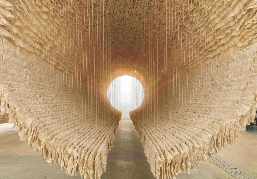 Zhu Jinshi, The Ship of Time, 2018, rice paper, bamboo, cotton thread dimensions variable, approximately 300 x 300 x 1500 cm #3