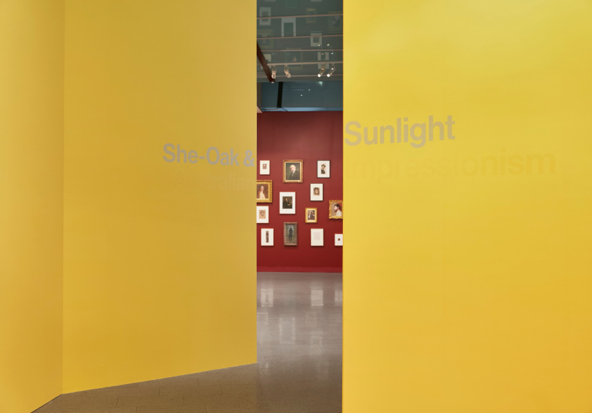 Installation view of She-Oak and Sunlight: Australian Impressionism at The Ian Potter Centre: NGV Australia, Melbourne on display from 2 April – 22 August 2021.