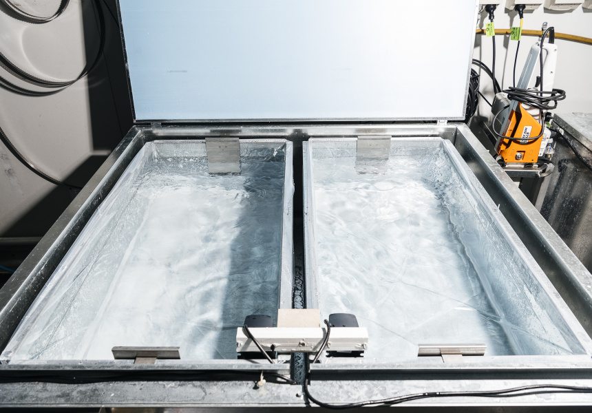 An American-made Clinebell ice machine filled with water, ready to begin the three-day purification and freezing process