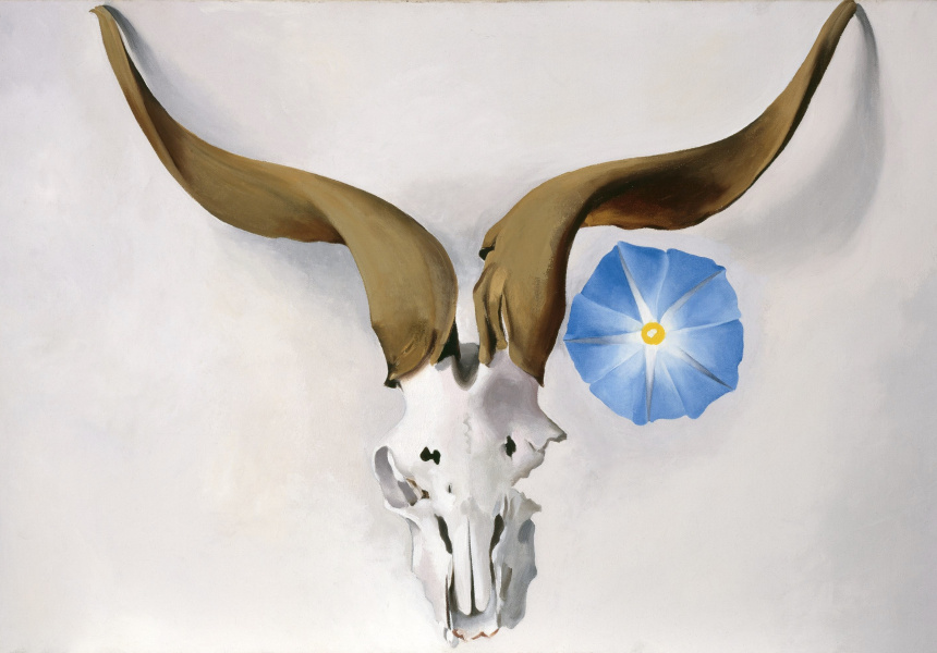Georgia O'Keeffe  Ram's Head, Blue Morning Glory, 1938  oil on canvas  50.8 x 76.2 cm  Georgia O'Keeffe Museum  Gift of The Burnett Foundation  © Georgia O'Keeffe Museum